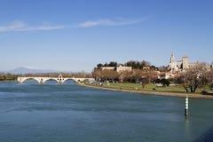 Saint-Benezet bridge and Avignon city Stock Photo