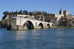 Saint-Benezet bridge and Avignon city Stock Image
