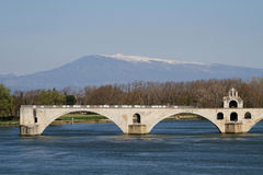 Saint-Benezet bridge and Mont Ventoux Royalty Free Stock Photo