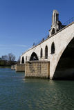 Saint-Benezet bridge and Rhone River Royalty Free Stock Image