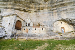 Saint Bernabe Ancient Heremitage in a cave in Ojo Guarena, Burgos , Spain. Royalty Free Stock Photography