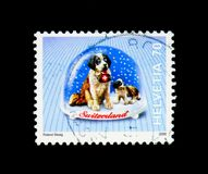 Saint Bernard Dog (Canis lupus familiaris), Snow Globes serie, c. MOSCOW, RUSSIA - NOVEMBER 26, 2017: A stamp printed in Switzerland shows Saint stock images