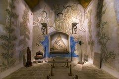 Saint blaise des simples chapel, Milly la foret, France. MILLY LA FORET, FRANCE, AUGUST 20, 2016 : interiors and frescoes by Jean Cocteau, chapel Saint Blaise royalty free stock image