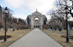 Saint Boniface Cathedral. View on the Saint Boniface Cathedral of Winnipeg City, Manitoba province, Canada. The photo was taken in November 2013 Royalty Free Stock Photo