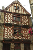 Saint-Brieuc (Brittany): half-timbered house. Saint-Brieuc (Cotes-d'Armor, Brittany, France): old typical half-timbered house with flowers Stock Photos