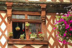 Saint-Brieuc (Brittany): half-timbered house. Saint-Brieuc (Cotes-d'Armor, Brittany, France): old typical half-timbered house with flowers Stock Photography