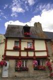 Saint-Brieuc (Brittany): half-timbered house. Saint-Brieuc (Cotes-d'Armor, Brittany, France): old typical half-timbered house with flowers Royalty Free Stock Photos