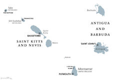 Saint carte politique de Kitts, Niévès, Antigua, Barbuda, Montserrat Illustration Stock