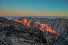 Saint Catherine Mountains at the time of sunrise stock photography