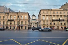 Saint Catherine`s basilica on Nevsky prospect in Saint Petersburg. Russia. Popular landmark. Catholic church built in 1782 by the architect Antonio Rinaldi Royalty Free Stock Photo