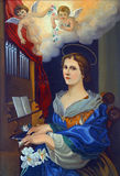 Saint Cecilia. Painting on the church altar Stock Images