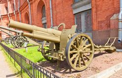 Saint-Chamond 1915 francês do modelo dos obus de 155 milímetros Fotografia de Stock