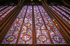 Saint chapelle in paris. Saint Chapelle, Paris. ancient gotic windows Stock Photo