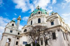 Saint Charles Church located on the south side of Karlsplatz in Vienna. Built on 1737 royalty free stock photography