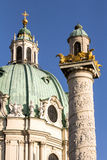 Saint Charles Church Vienna. With Trajan`s Column Karlskirche Wien Royalty Free Stock Image