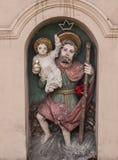 Saint Christopher - figurine of roadside shrines in Krakow Stock Images