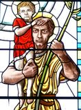 Saint Christopher. Stained glass image of St. Christopher Royalty Free Stock Photo