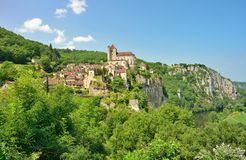 Saint Cirq Lapopie. An ancient village in France perched on a cliff above the Lot river Royalty Free Stock Photography
