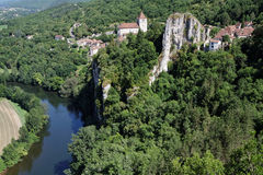 Saint-Cirq Lapopie from the sky Stock Photos