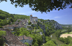 Saint Cirq Lapopie - sort - la France Images stock