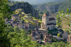 Saint-cirq-Lapopie três Imagem de Stock