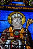 Detail of a stained glass window of a church stock image