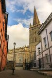 Saint Columb`s Cathedral. Derry Londonderry. Northern Ireland. United Kingdom. Picturesque corner and Saint Columb`s Cathedral. Derry Londonderry. Northern Royalty Free Stock Photos