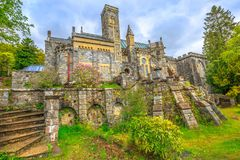 Saint Conan`s Kirk. Scenic backside garden of Saint Conan`s Kirk church, located in Loch Awe in Argyll town of Scotland in United Kingdom, Europe. Spectacular Stock Photography