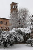 Saint Cosma and Damiano Basilica under snow Stock Photo