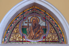 Saint Cyril. Stained glass church window Stock Photos