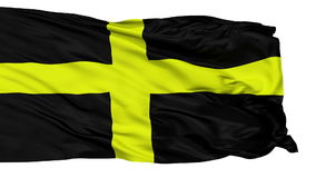Isolated Saint David city flag, UK. Saint David flag, city of UK, realistic animation isolated on white seamless loop - 10 seconds long alpha channel is included stock video