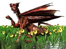 Saint David's day. Digital render of a Welsh Dragon surrounded by daffodils to celebrate St David's Day - patron saint of Wales - on March 1st royalty free illustration
