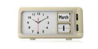 Saint Davids day on old retro alarm clock, white background, isolated. 3d illustration. Saint Davids day, March 1 date text on old retro vintage alarm clock vector illustration