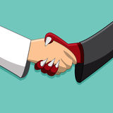 Saint and demon handshake ,Peace time Royalty Free Stock Image