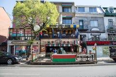 Saint Denis Street in Montreal Stock Images