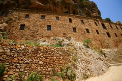 Saint Elishaa Monastery. And Hermitage, 14th century, Wadi Qadisha, or the Holy Valley in the north of Lebanon. An UNESCO World Heritage Site. Built in the rock stock images
