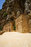 Saint Elishaa Monastery. And Hermitage, 14th century, Wadi Qadisha, or the Holy Valley in the north of Lebanon. An UNESCO World Heritage Site. Built in the rock royalty free stock image