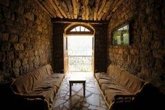 Saint Elishaa Monastery, Interior. Saint Elishaa Monastery and Hermitage, 14th century, Wadi Qadisha, or the Holy Valley in the north of Lebanon. An UNESCO Royalty Free Stock Photo