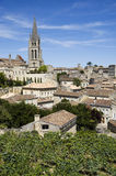 Saint emilion. French vineyard with the village of Saint Emilion in the background stock photo