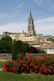 Saint Emilion. France, Saint Emilion- Church and flowers Royalty Free Stock Images