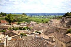 Saint-Emilion, France. Overlooking the village of Saint-Emilion, near Bordeaux, France stock images