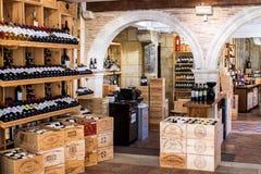 wooden racks with wine Stock Image