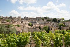 View of Saint Emilion village in Bordeaux region in France. Saint Emilion French village is a Unesco heritage royalty free stock images