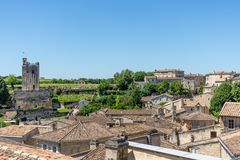 Saint Emilion, Gironde, France. View over the village. The medieval village of Saint Emilion,near Bordeaux in France, known for its famous wines stock photography