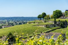 Saint Emilion, Gironde, France. Vineyards around the village. Vineyards in Saint Emilion,near Bordeaux in France, known for its famous wines stock photo
