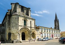 Collegiate Church of Saint-Émilion near Bordeaux, France. Saint-Emilion medieval village listed as World Heritage by UNESCO Royalty Free Stock Photo