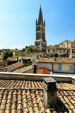 Roofs and Church Bell Tower of Saint-Emilion, Bordeaux, France. Saint-Emilion medieval village listed as World Heritage by UNESCO stock image