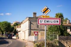 Saint Emilion near Bordeaux, France. Saint Emilion roadsign, Bordeaux, France Royalty Free Stock Image