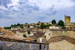 Saint Emilion-stad en kasteel Bordeaux Frankrijk royalty-vrije stock fotografie