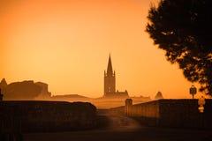 Saint Emilion Sunrise, vinhedo do Bordéus, França fotografia de stock